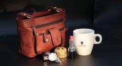 Plain Dcuir Club Brown Leather Handbag for Casual Wear