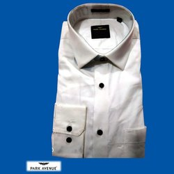 Collar Neck Full Sleeve Mens Plain White Cotton Shirt, Size: 38 to 44