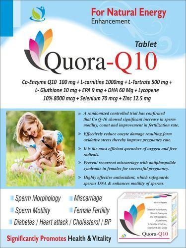 Co-Enzyme Q10 100 mg L-carnitine L-Tartrate 500 mg L- Gluthione 10 mg EPA 9  mg DHA 60 Mg