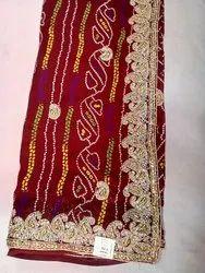 Georgette Stone Work Marwadi Chunadi Saree
