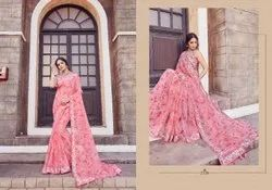 Peach Printed Ladies  Linen Saree 5.5 m (With Blouse Piece)