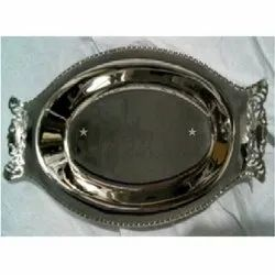 Medieval Edge Brass Nickel Plated Decorative Trays, For Serving, Size: 31 Cmx16 Cm