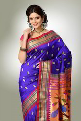 ART SILK Wedding Wear Paithani Yevla Saree, With Blouse Piece