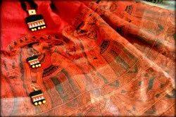 Arcadian Crafts Tussar Munga Handpainted Silk Saree, 5.5 M (separate Blouse Piece)