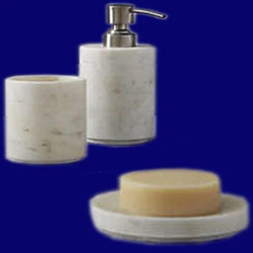 Jagdamba Marble Handicraft White, Marble Bathroom Accessories Sets
