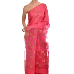 Pink Embroidered Handwoven Saree