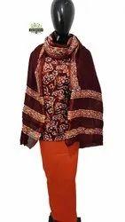 Indian Sanganeri Hand Block Chanderi Batik Printed Unstiched Salwar Suits