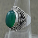 Green Onyx Gemstone New Fashion 925 Silver Finger Ring