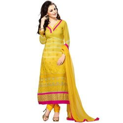 Cotton Straight Ladies Yellow Fancy Suits, Handwash