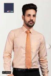 Orange Stripe Office Uniform Men's Readymade Shirt