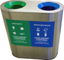 S/Steel 2 in 1 Recycle Bin