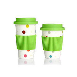 Silicone Lid & Grip Ceramic Coffee Mug