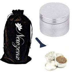 Metal Herb Spice Grinder 63mm Crusher Including Crusher Cleaner and Velvet Fancy Pouch