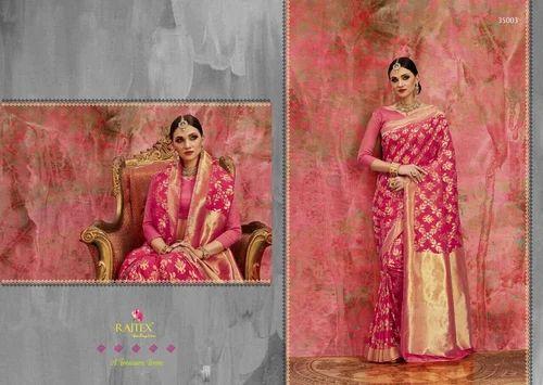 f72d46ff8735d Pink Border Exclusive Party Wear Cotton Silk Jacquard Weaving Saree ...