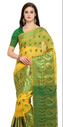 Formal Wear Green Colored Chanderi Silk Casual Saree, 6 M (with Blouse Piece)
