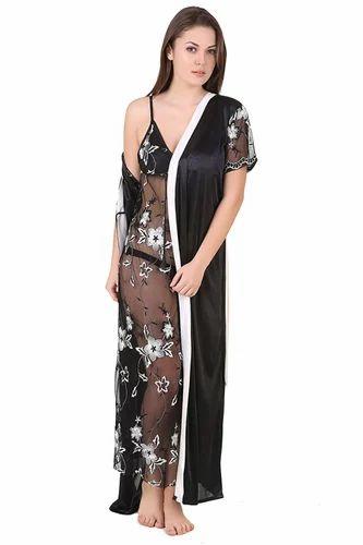 a5391f626 Ladies Black Satin Nighty With Robe