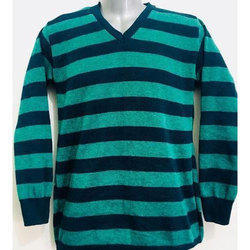 d1b25abbf Kwality Knitwears Sea Green And Black Mens Striped Sweater