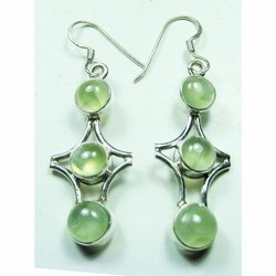 925 Sterling Silver Phrenite High End Furnished Earrings