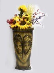 Male-Female Printed Vase In Metalic Golden Colour