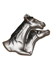 Royal Silver Horse Pair Wall Hanging
