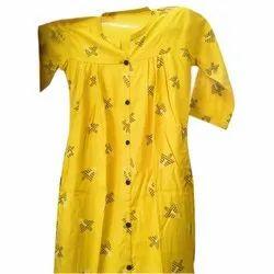 Cotton Casual Wear Ladies Yellow Printed Kurtis, Wash Care: Handwash