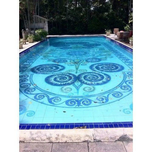 Ceramic Swimming Pool Mosaic Floor Tile, Size: 10x10 Mm