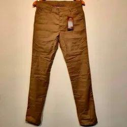 Brown Regular Fit Men Party Wear Cotton Pant