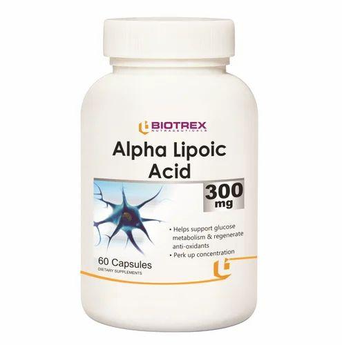 Biotrex Nutraceuticals Alpha Lipoic Acid 300mg Capsules, Packaging Type: Bottle