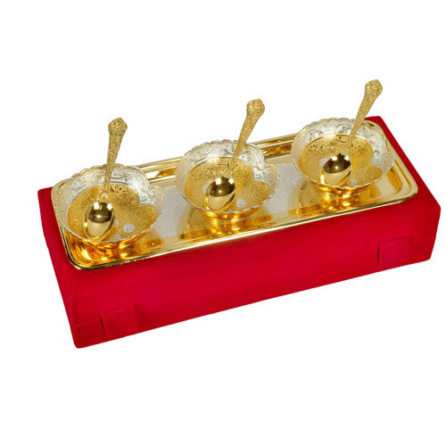 Heart Shape Gold Plated Brass Bowl Set Of 7 Pieces