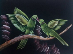 Painting Two Parrots