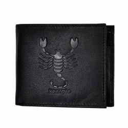Scorpio Zodiac Sign Embossed Black Mens Leather Wallet