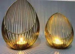 Steel Home Decor Diya egg shape, For Pooja