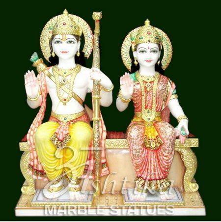 Marble Ram Sita Statue