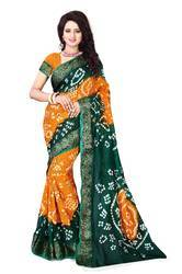 Cotton Silk Printed Bandhani Saree
