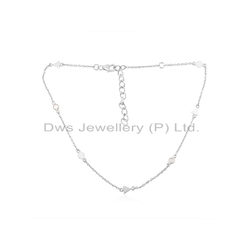 Zircon Gemstone Fine Sterling Silver Chain Necklace Jewelry