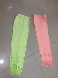 Women's Cotton Chikan Embroidery Pants