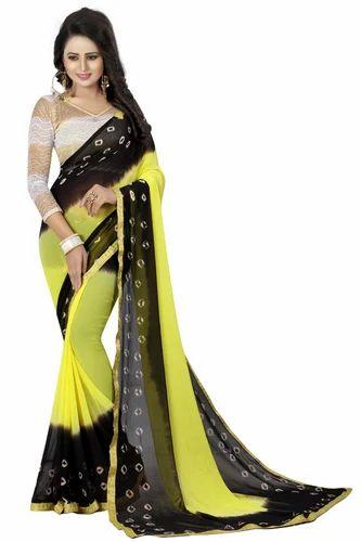 Casual Wear Formal Wear Black And Yellow Bandhani Saree Rs 399