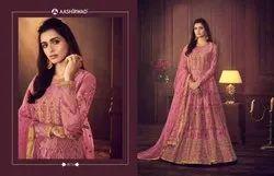 Semi-Stitched Churidar Indian Ethnic Designer Net Pink Party Wear Anarkali Suit