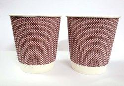 White Ripple Paper Cup 200 ml, Packet Size: 25 Pcs, Size: Standard