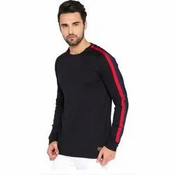 Mens Round Neck Full Sleeve Plain Cotton T Shirt, Size: XS-XXL