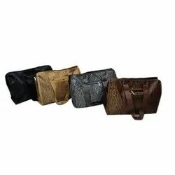Brown Polyester Travel Handbag