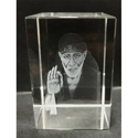 Transparent 3d Sai Baba Idol Engraved In Crystal
