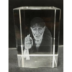 3D Sai Baba Idol Engraved in Crystal