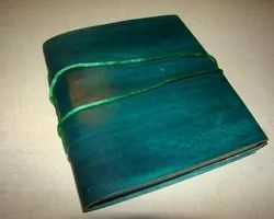Vintage Green Plain Leather Diary