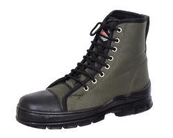 Black Leather Jungle Boots - & Fabric - Lotus Safetywear