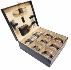 Portable Leather Bar Set Six Glasses and Bar Accessories