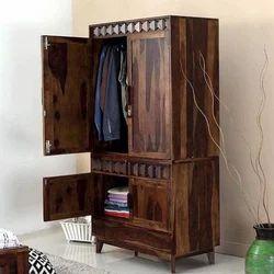 Brown AST International 7 Feet Antique Wooden Almirah