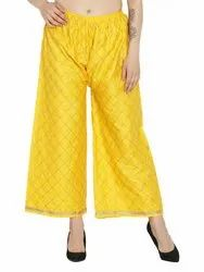 Regular Fit Women''s Chikan Embroidery Palazzo Pants