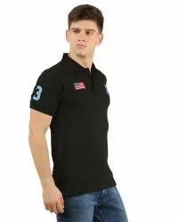 Mens Black Printed Polo T Shirt
