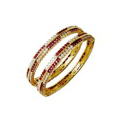 With Gemstones Precious 18k Gold Bangle Studded